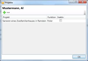 Adressverwaltung Person Projektzuordnung