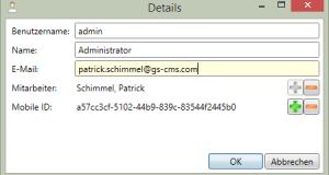 Benutzerverwaltung Benutzer-Details