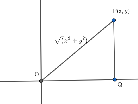 Q3 Find the distance of a point P(x, y) from the origin.