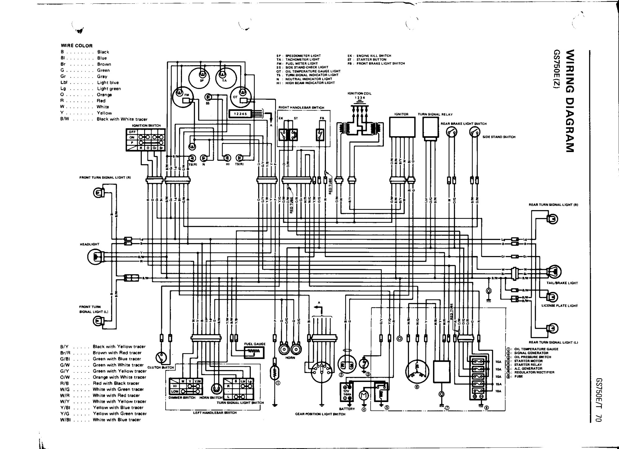 hight resolution of bikecliff s website gs750 16 valve color wiring diagram