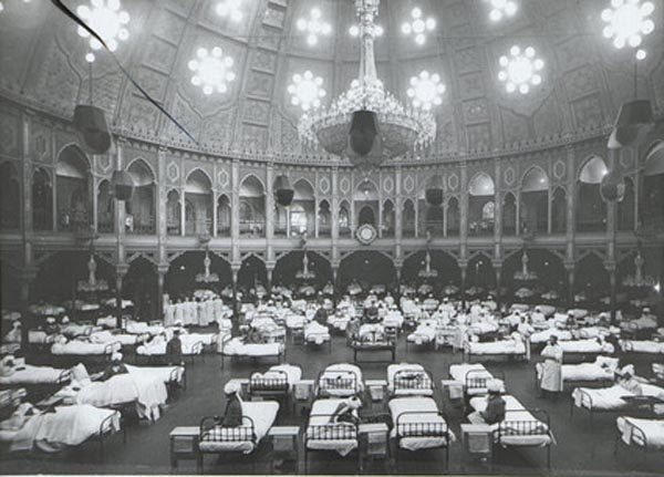Indian Soldiers in rows of beds inside the Dome during its use as a Military Hospital, 1915.