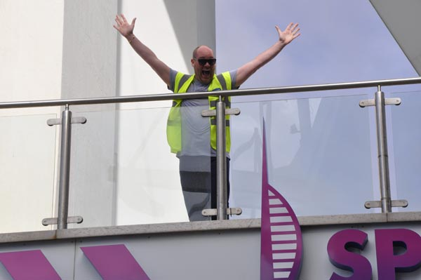 First abseiler celebrates getting down safely