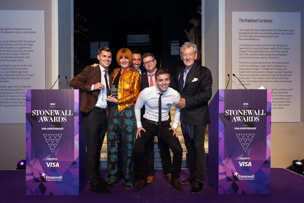 Sir Ian McKellen with Mary Portas and the cast of Hollyoaks