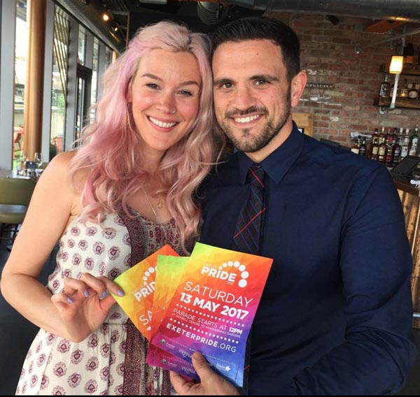 Joss Stone with Exeter Pride Trustee Lewis Bell