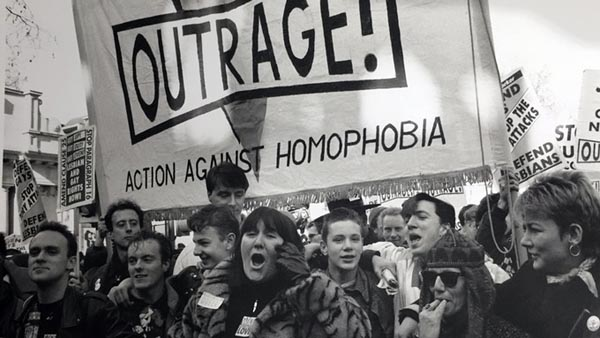 Peter Tatchell and Lisa Power march with Outrage in London in 1988.