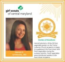 Gold Award for facebook Hannah Van Scyoc