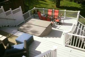 Large deck painted white.
