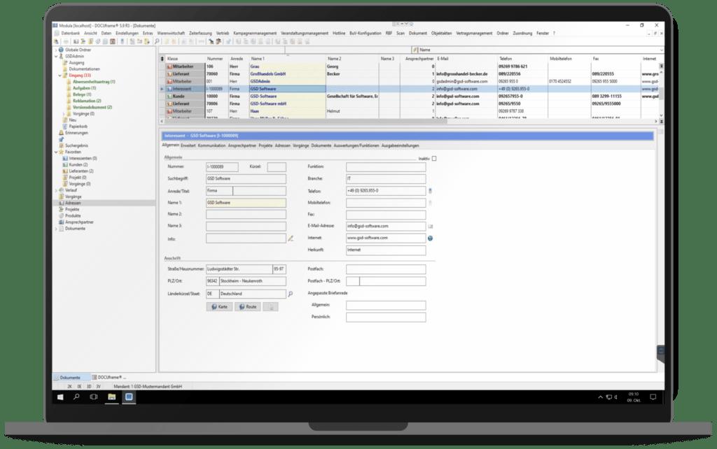 GSD Software® DOCUframe - Customer-Relationshipmanagement (CRM) - Stammdaten anlegen