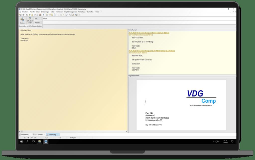 GSD Software® DOCUframe - Dokumentenmanagementsystem (DMS) - Bearbeiten und Weiterleiten