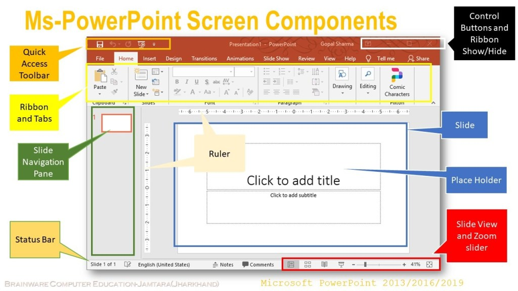 Microsoft Office 2016 screen components
