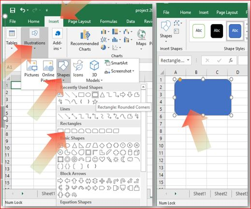 Using shapes in Excel