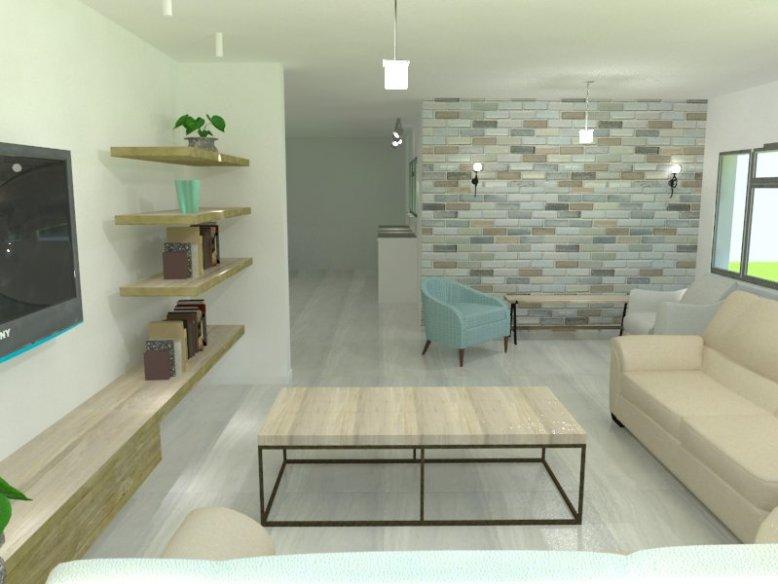TV room and brick wall