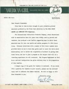 GSUSA letter to council presidents about Kotex leader packet.