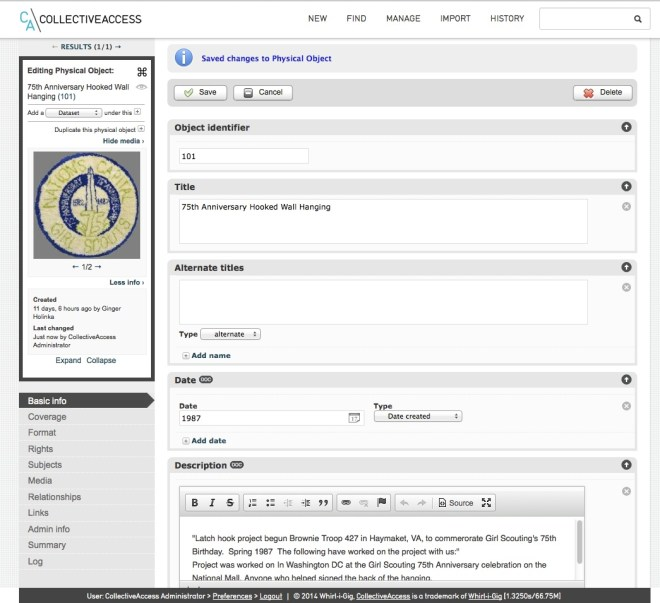 Data entry screens include fields for inventory numbers, object titles, and descriptions. Multiple dates can be used, such as date created, accepted, copyrighted, etc.