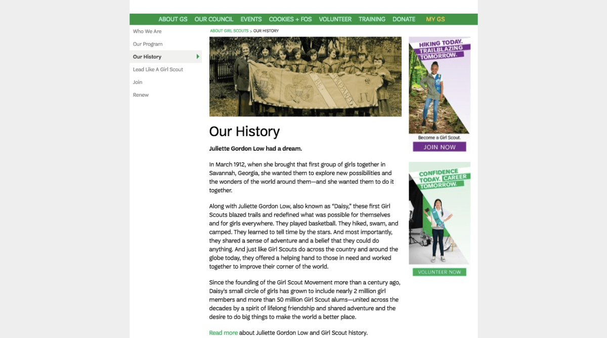 our history girl scouts of kansas heartland