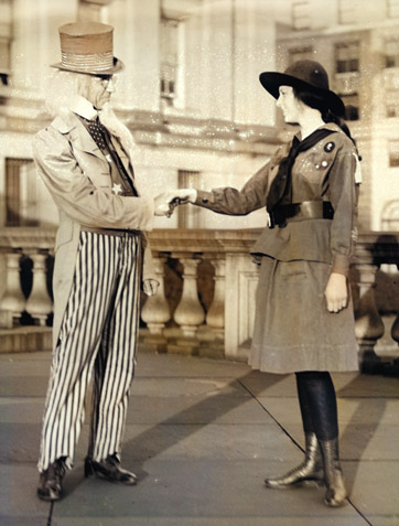 Uncle Sam greets a Girl Scout in 1917.