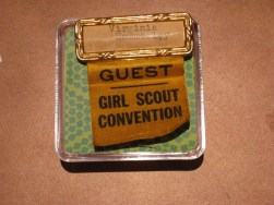 Convention name badge for Virginia Hammerley, a staff member of the Girl Scouts of the District of Columbia.