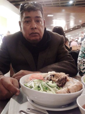 Papa enjoying vegetarian lunch.