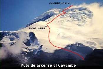 Ruta ascenso Cayambe