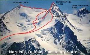 Nordend, Dufuor, Zumstein y Sattel