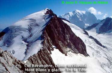 Vista de Dômes, Mont Blanc y glaciar Tré la Tète