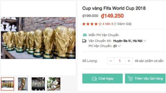 Cup vang FIFA World Cup 2018 duoc rao tren mang gia 150 ngan tai Viet Nam