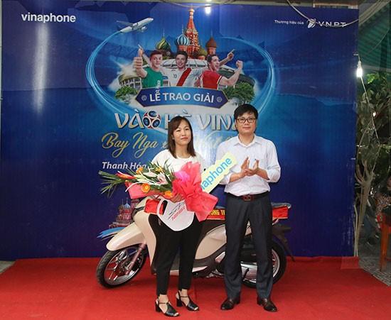 VNPT trao thuong xe may Honda SH Mode cho khach hang may man tai Thanh Hoa
