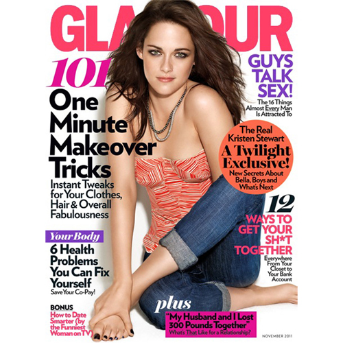 Kristen Stewart appeared on the cover of Glamours November 2011