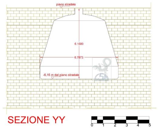 sezione trasversale (E/W) della cisterna