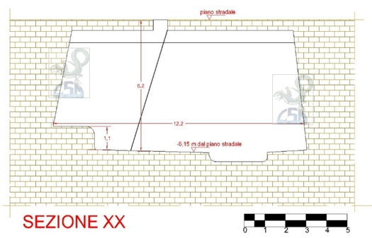 sezione longitudinale (N/S) della cisterna
