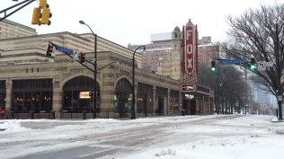 The Fox Theater during a snow storm.