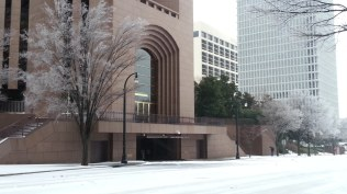 The Bank of America Building during the ice storm.