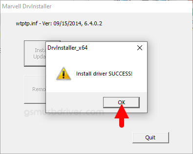 Marvell Driver Install Success