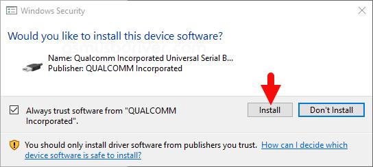 Qualcomm Driver Install Dialog