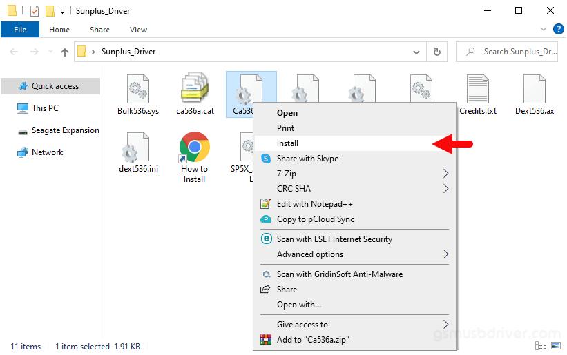 SunPlus USB Driver Install