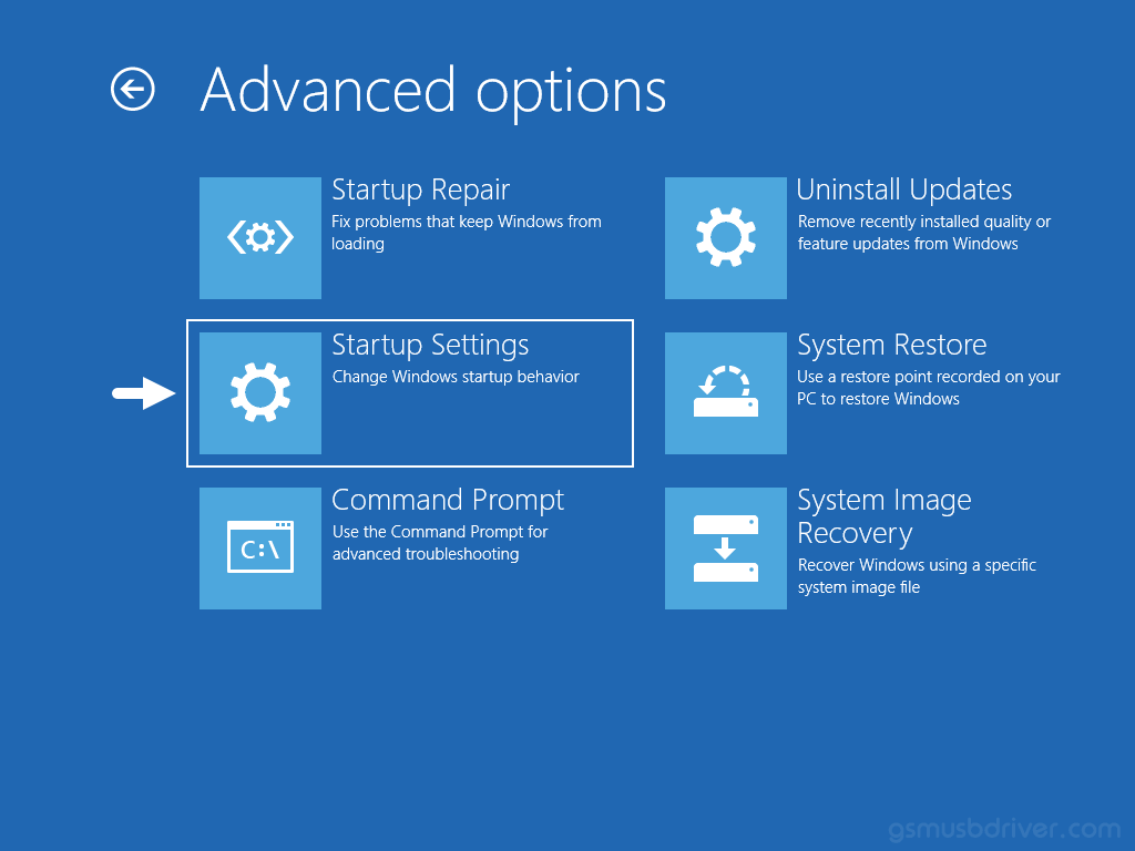 Windows Advanced Options Startup Settings