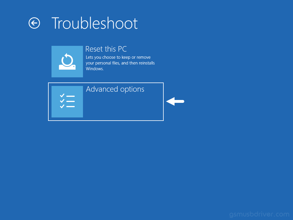 Windows Troubleshoot Advanced Options
