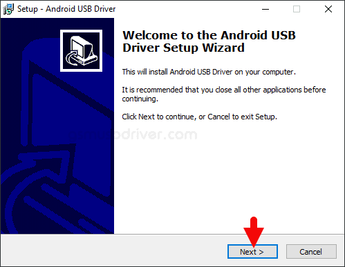 ZTE Android USB Driver Setup Next