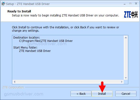 ZTE Handset USB Driver v5.2066.1.8 Install