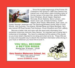 GSMXS Motocross Training CD 1 rear cover