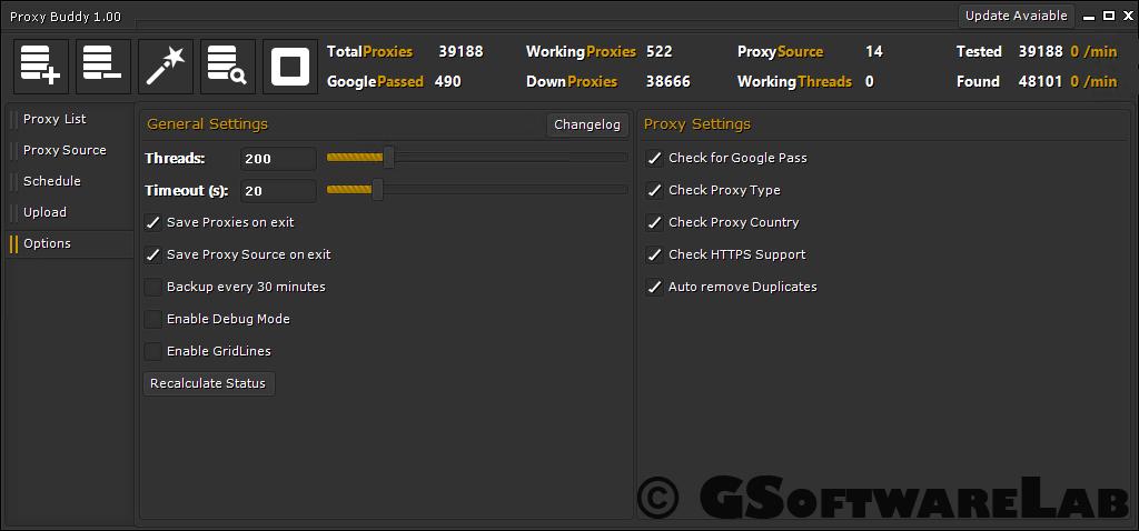 Manage the proxy buddy settings easily.