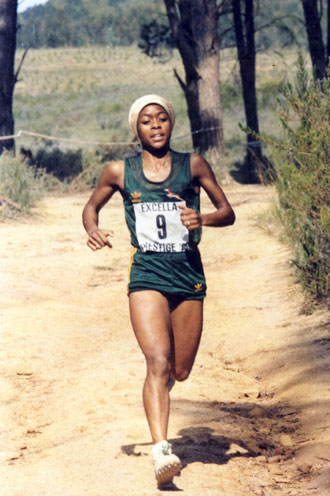Moila in her favourite territory, running in Springbok colours at the 1985 cross-country championships. Photo: Supplied