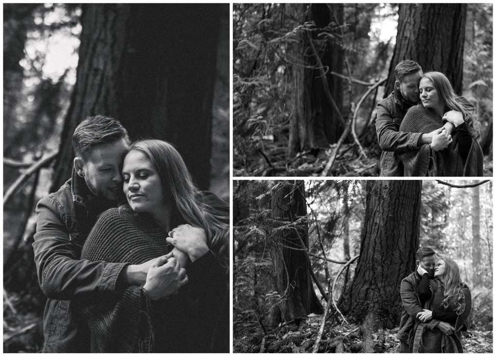 Black and white intimate Redmond engagement session in the woods at Farrel McWhirter. Adventurous outdoor Seattle and Snohomish wedding photography in the pacific northwest and montana rocky mountains.