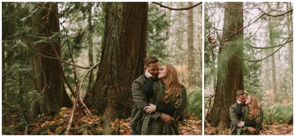 Wooded redmond engagement session.  Adventurous outdoor Seattle and Snohomish wedding photography in the pacific northwest and montana rocky mountains.