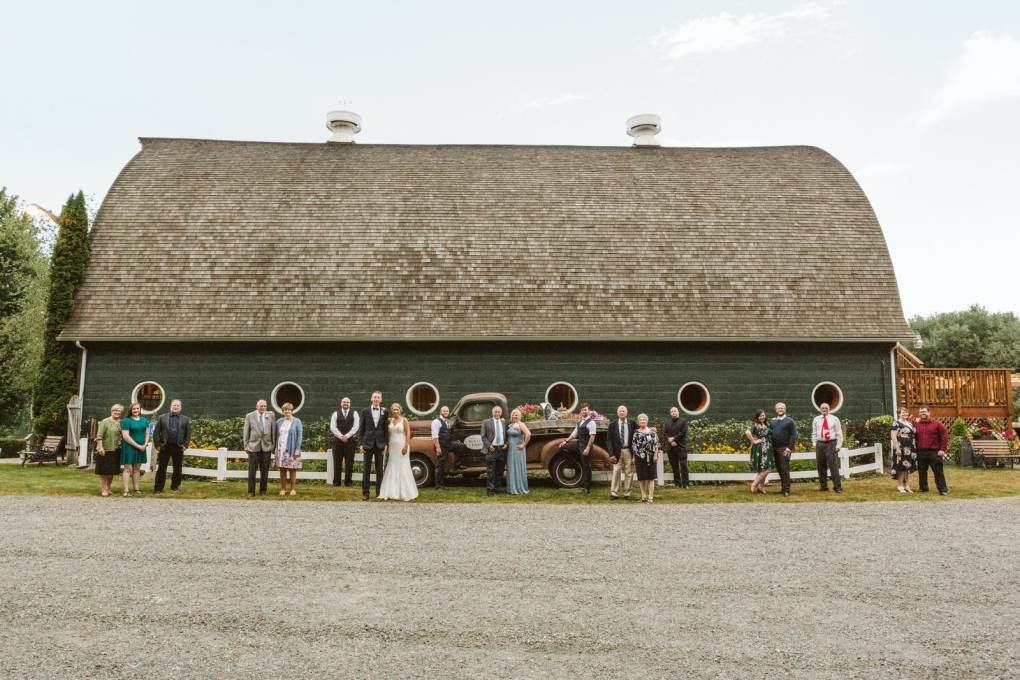 extended family photo at a covid wedding socially distanced