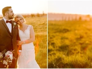 hidden meadows wedding in spring of 2021 with gorgeous sunset and couple snuggling