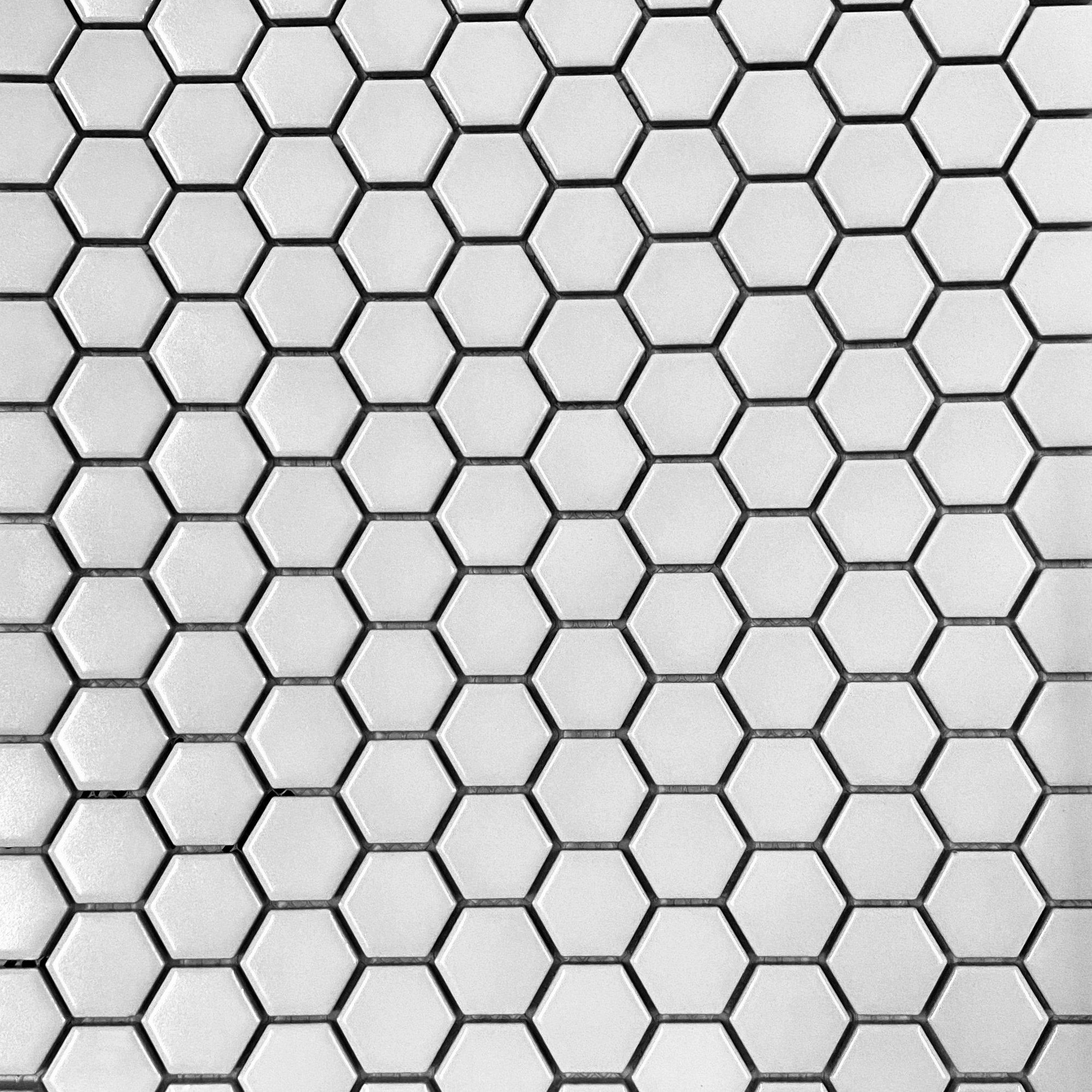 white hexagon 1 matte porcelain from
