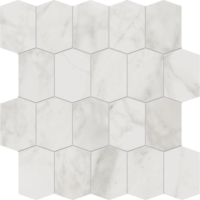 white elongated hexagon mosaic from
