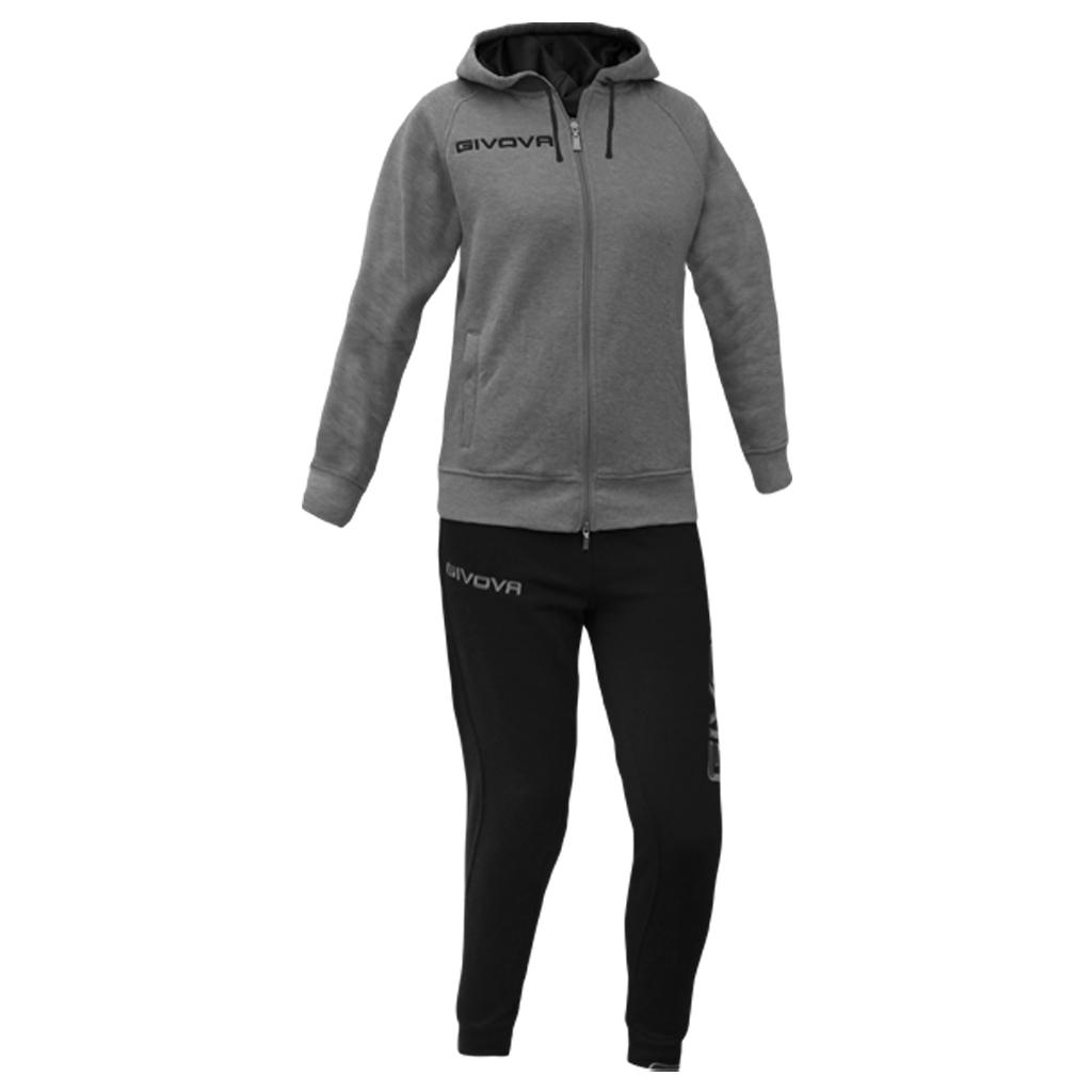 GIVOVA Tuta ginnastica donna STAR NEW Pantalone+felpa invernale cappuccio nera