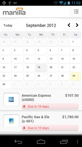 Manilla Android App - Calendar